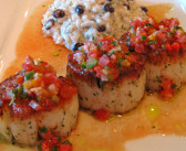 Scallops Gazpacho with Black Bean Risotto