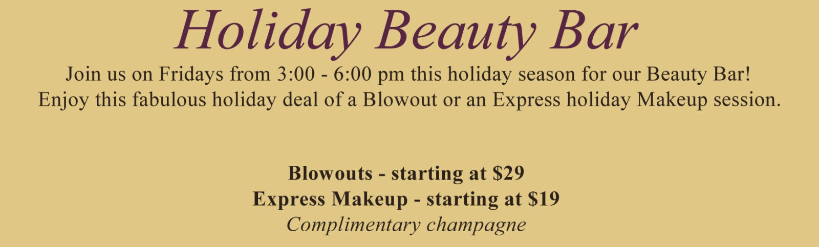 The holiday beauty bar at allora salon and spa rochester for A list salon rochester